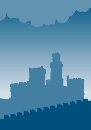 turrets: Blue silhouette of old castle.