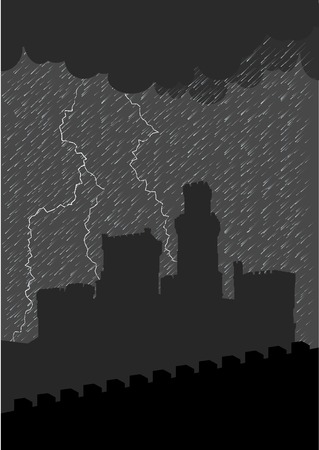 Silhouette of old castle under the storm. Stock Vector - 5787439