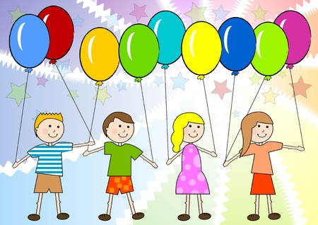school carnival: Children with color ballon on the color background.