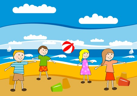 Children on the sunny beach. Stock Vector - 5787422