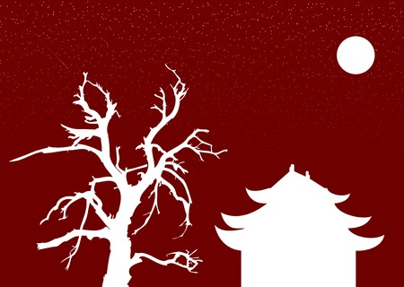 tibet: Chinese architecture and old tree under the moon on the red background with the stars.