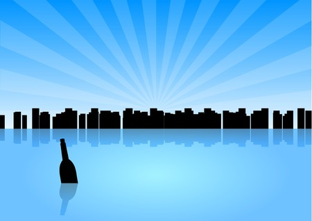 Black silhouette of city with message in the bottle. Vector