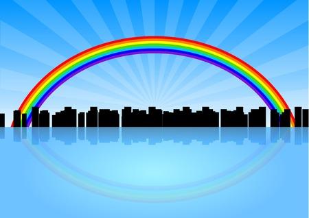 City silhouette below the rainbow.