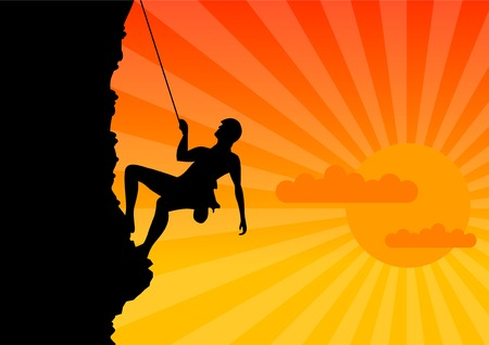 Climber on the rock by the sunrise. Vector