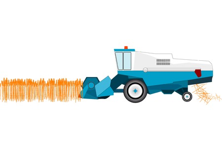 combine: Combine is cutting wheat. Illustration