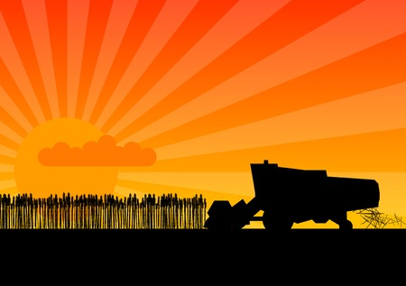 Black silhouette of combine under the sunset. Vector
