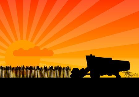 cosechadora: Silueta Negro de combinar con la puesta del sol. Vectores