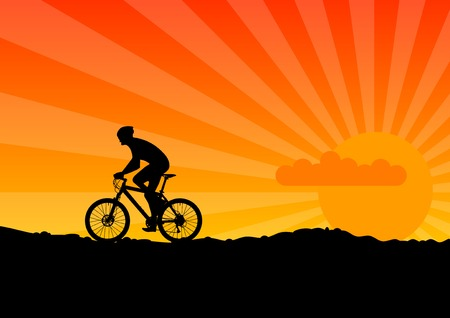Black silhouette of bicicle on the orange sky. Vector