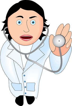 Doctor, white gown, stethoscope in his hand. Vector