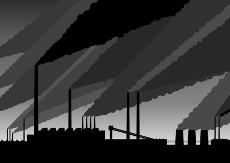 Black silhouette of smoke above the factory. Vector