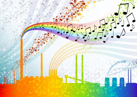 Music factory with colour notes. Stock Vector - 5792981
