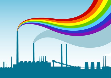 Blue sihouette of factory with rainbow. Vector