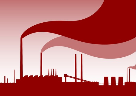 pollution art: Red silhouette of factory with smoke.
