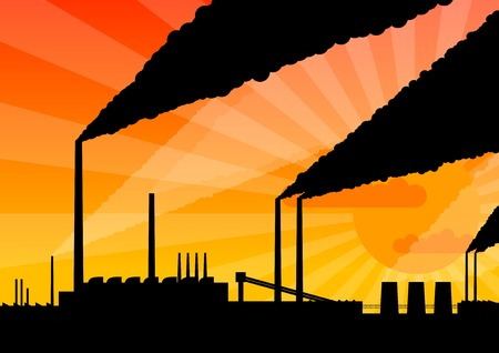Black silhouette of factory by the sunset. Vector