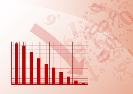 Red graph is falling down. Illustration