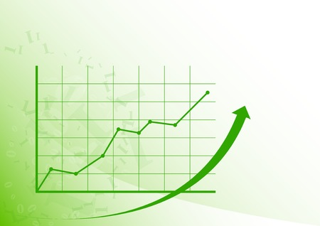 growing up: Green graph is growing up on the white background.