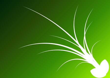 White silhouette of grass on the green background. Vector