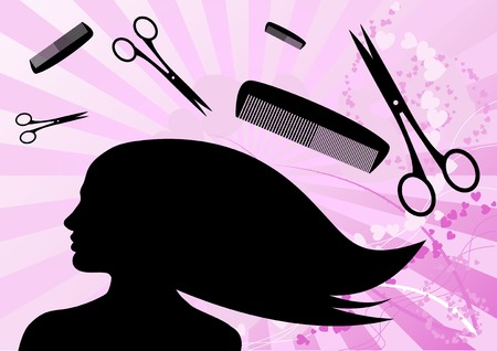 hair cut: Hairdressing with tools on the background. Illustration