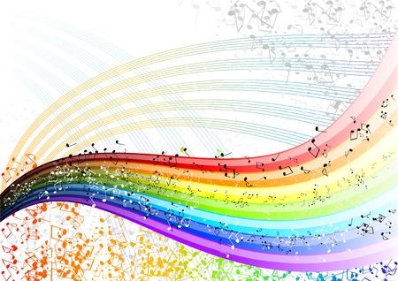 Musician rainbow with many notes. Ilustracja