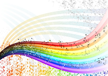 symphony: Musician rainbow with many notes. Illustration