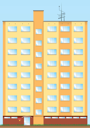 Eight floor new orange big and high house. Vector