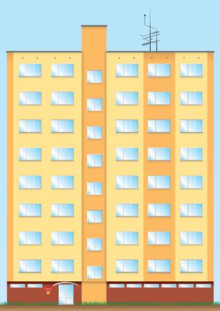 Eight floor new orange big and high house. Vector
