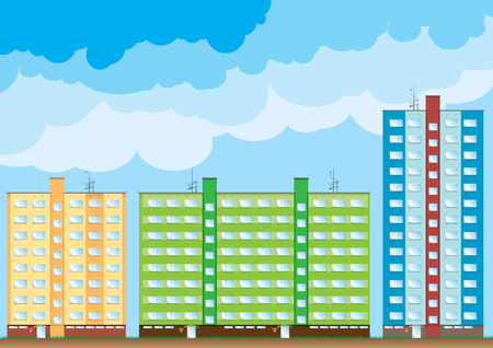 Block of color houses under the blue clouds. Stock Vector - 5802797
