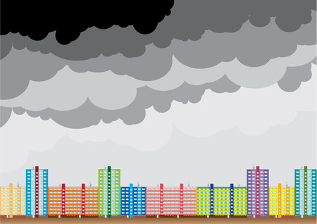 Block of color house under the black clouds. Stock Vector - 5802799
