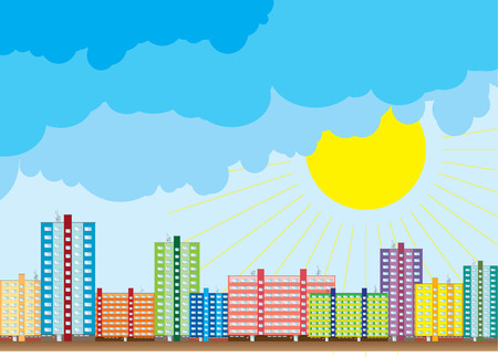 Block of color houses under the blue sky. Stock Vector - 5802798