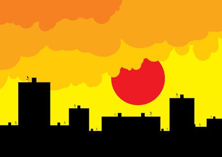 under fire: Bloque de casa como silueta bajo el cielo de fuego.  Vectores
