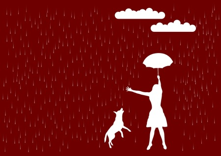 Girl and dog in the rain. Vector