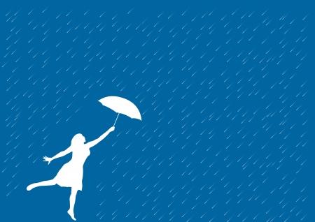 lluvia paraguas: Chica con paraguas bajo la lluvia.