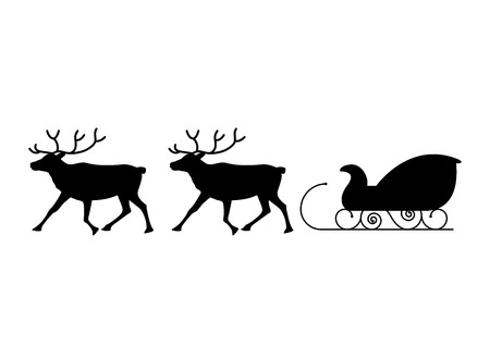 sled: Black silhouettes of reindeer and sled.