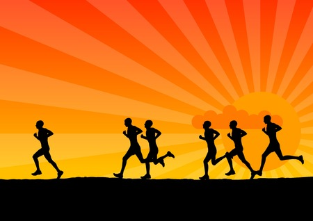 Black silhouette of running men. Vector
