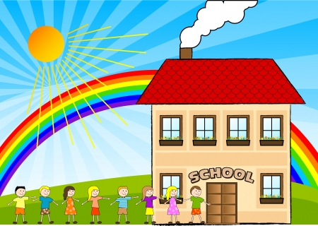 Children are going to the school. Stock Vector - 5803182