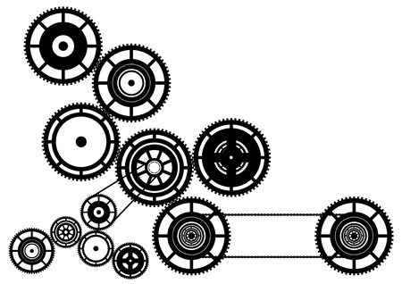 Black silhouette of machinery. Vector