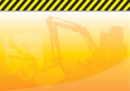 Orange background with construction theme.