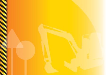 Orange background with construction symbols. Vector