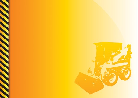 machine operator: Orange background with construction theme.