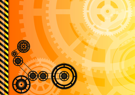 Orange background with black wheels. Vector