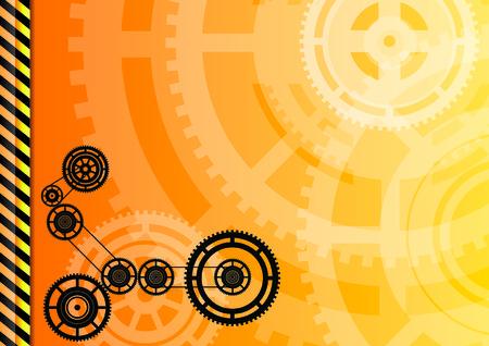 Orange background with black wheels.