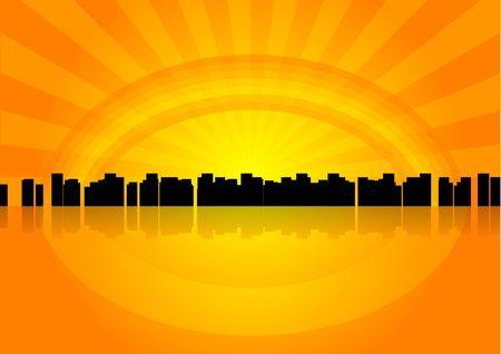 Silhouette of city under the orange rainbow. photo