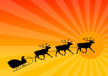 balck: Balck silhouette of reindeers on orange backgorund.