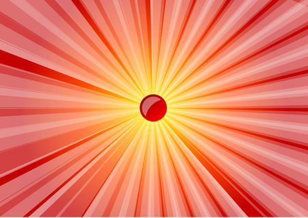 Red and yellow abstract shining sun. Illustration