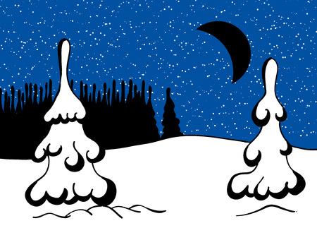 Winter snowy landscape at night. Vector