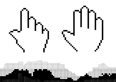 Black silhouette of pixel hands isolated on the white Ilustração
