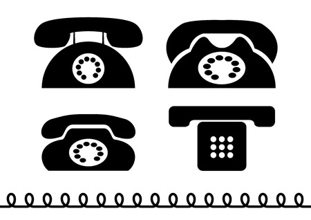 Black silhouette of old phone. Vector
