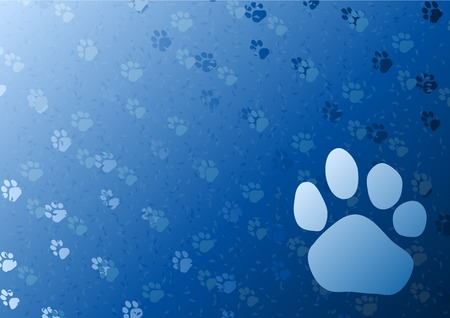 animals and pets: Vector blue background with foot trail.