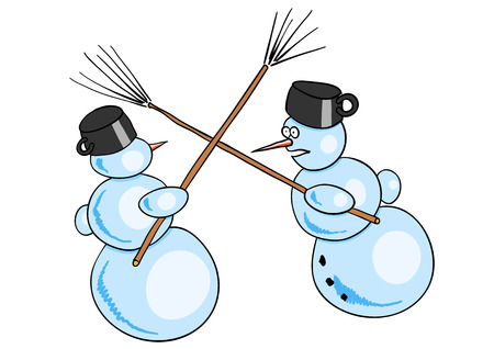 Two snowman fighted by besoms. Vector