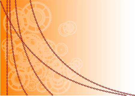 Orange vector background with chain Vector